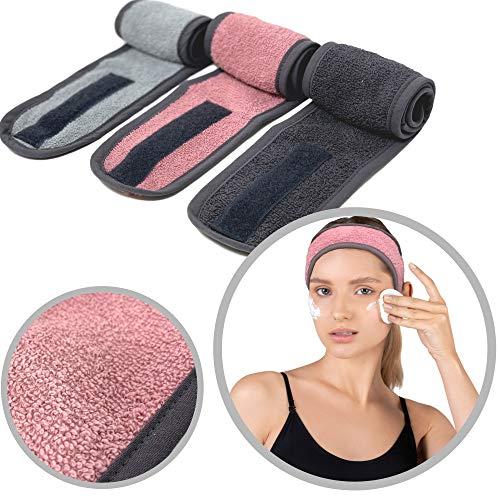 Homelevel 3er Set Frottee Spa Stirnband 100% Baumwolle Haarband Kosmetik Band Stirnbänder 100% Baumwolle Grau/Altrose/Hellgrau