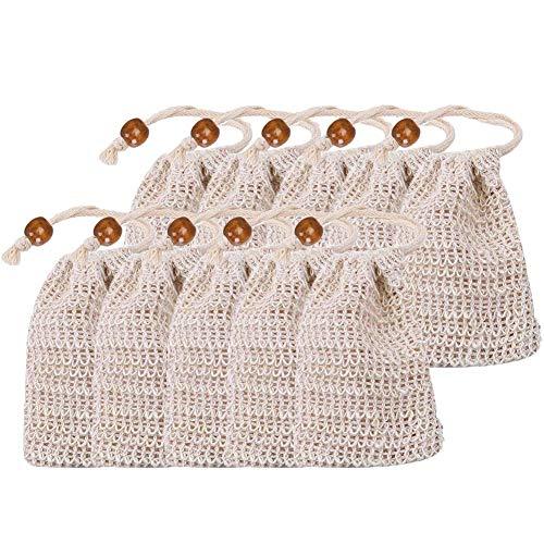 NARUTOO Exfoliating Natural Sisal Soap Bag Pouch Soap Saver(10 Pcs Sisal Soap Bag)