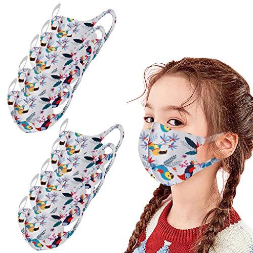 Gesichtsschutzschild 3D, Mundschutz,Atemschutz Mundschutz Mund und Nasenschutz,Mehrweg Atmungsaktiv Stoffmasken Halstuch Bandana Tuch, Mund und Nasenschutz Für Kinder 10 PCS! (E)