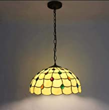 Tiffany Style Pendant Light, Stained Glass Lily Pattern Ceiling Lamp Shade Pendant Lighting for Kitchen Island,110-240V