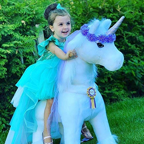 PonyCycle Official Riding Horse White and Purple Unicorn No Battery No Electricity Mechanical Giddy up Pony Plush Toy Walking Animal for Age 3-5 Years Small Size - K31 -  SMARTECH.CO.LTD, TOY-PONYCYCLE-3-5-PURPLE-K31