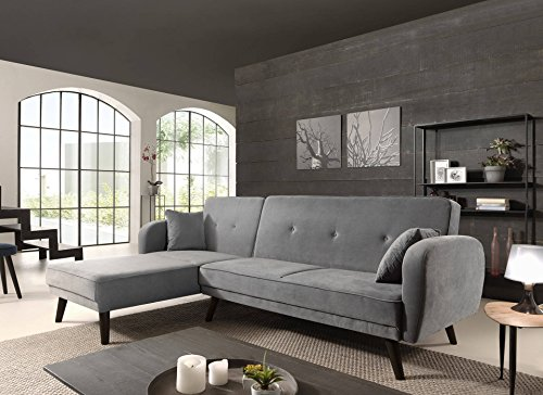Canapé d'angle 4 places Velours Pas cher Contemporain Panoramique