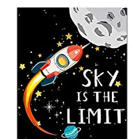 XIANRENGE ポスター スペースチルドレンポスターインスピレーションロケット宇宙飛行士漫画保育園寝室ぶら下げ画像装飾ポスターキャンバス-50x70cmx1フレームなし