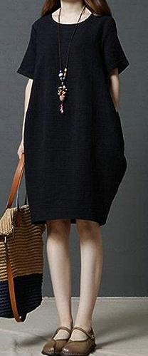 MJY Robe mi-longue en lin de couleur unie à hommeches courtes pour femmes occasionnelles