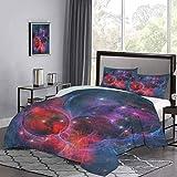 Juego de Funda nórdica de Nebula Gas Celestial Expanse in Galaxy Astral Planet Cosmos Objects Space Theme Juego de Cama con Estampado para decoración de Dormitorio Azul Marino