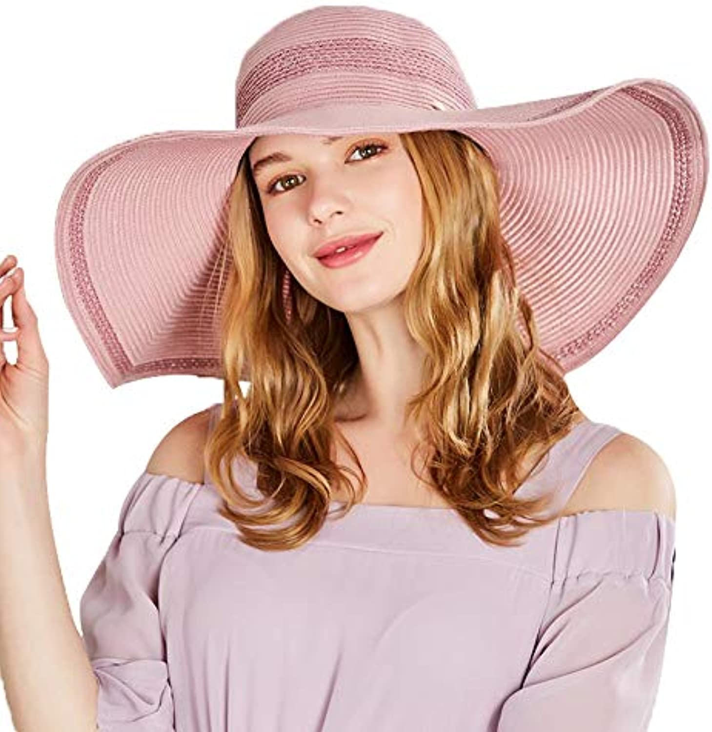 Beach Hat Visor Straw Hat Female Summer Small Fresh Korean Sunscreen Big Hat Bohemian Big Hat (color   Pink, Size   57.5cm)