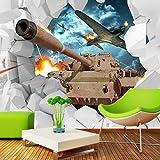 VGFGI Mural 3D Pvc impermeable autoadhesivo papel tapiz de vinilo tanque avión tema militar Fondo creativo muebles decoración de la pared del dormitorio