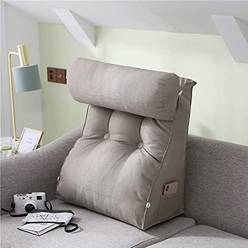 Smile Diary Cojín de cintura para sofá o sofá de lino de algodón de colores sólidos con diseño de tatami, para el hogar, sala de estar, oficina, lectura, almohadas (60 x 50 x 20 cm, B)