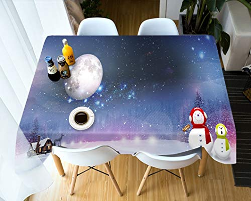 LWF tafelkleed, Europese 3D Tablecloth, digitale print in houtlook, korrel, afwasbaar rechthoekig/tafelkleed vierkant 150 * 90cm Een