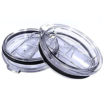 2 Replacement Lids for 30oz Stainless Steel Tumbler Travel Cup - Fits OF Inner diameter 3.58 INCH Yeti Rambler and others  Transparent