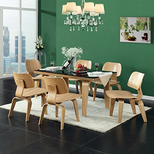 Modway Fathom Mid-Century Modern Molded Plywood Kitchen and Dining Room Chair in Natural