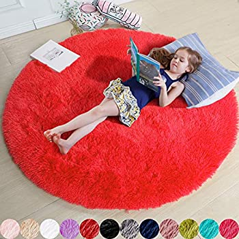 Red Round Rug for Bedroom,Fluffy Circle Rug 4 X4  for Kids Room,Furry Carpet for Teen Girls Room,Shaggy Circular Rug for Nursery Room,Fuzzy Plush Rug for Dorm,Red Carpet,Cute Room Decor for Baby