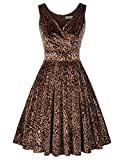Vintage Cocktail Dress Velvet A-line Swing Dress Size S Leopard CL135-1