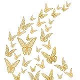 36 Piezas de Pegatinas Pared Mariposa Estéreo Dorado Hueca 3D, Mariposas Pegatinas de Pared Decorativas Para la Decoración de la Fiesta de Cumpleaños Dormitorio de la Boda Decoración Del Hogar