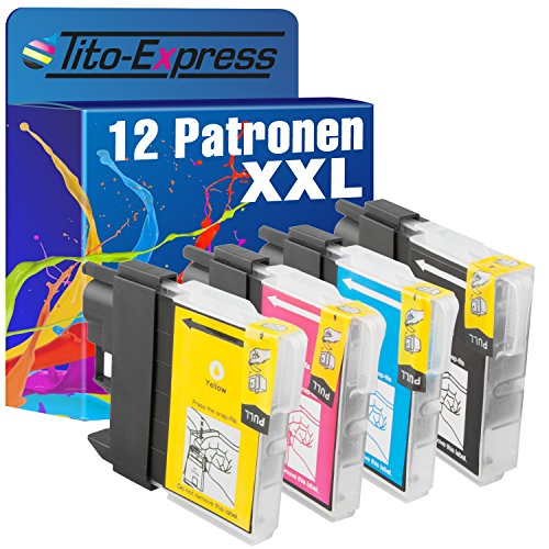 Tito-Express PlatinumSerie 12x Patrone XXL mit Chip kompatibel mit Brother LC985 DCP-J 125 DCP-J 140 W DCP-J 315 W DCP-J 515 W