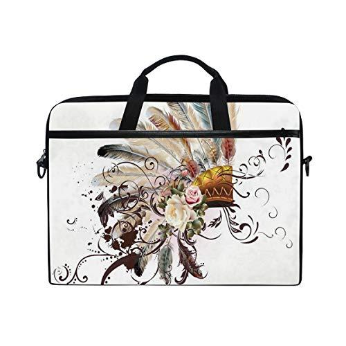 HUAYEXI HandtascheLaptop,Symbol der amerikanischen Ureinwohner mit Blumenarrangements Kopf tragen Blumen wirbelt Formen,Umhängetasche Laptop Tasche Handtasche Business Aktentasche