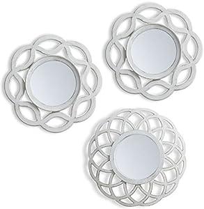 Lama Juego de Espejos Pared, 75 x 25 x 1.5 cm, 3 Unidades, Blanco