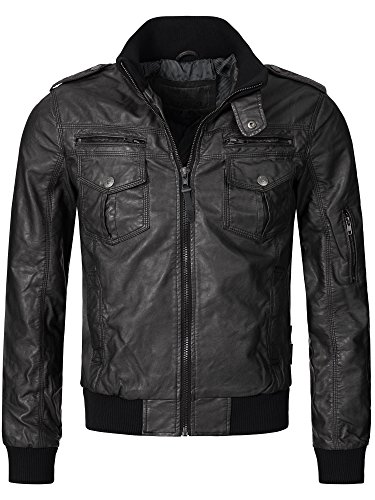 Indicode Herren Pawel Lederjacke aus Leder-Imitat m. Stehkragen | Kunstleder Jacke Bequeme Herrenjacke f. Biker Übergangsjacke Men Faux Leather Jacket Coole Bikerjacke f. Männer in Black XL