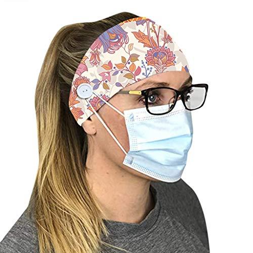 Bumplebee Sport Stirnbänder Damen Herren Yoga Schweißband, Weich, Elastisch, Feuchtigkeitsableitend, Rutschfest Knopf Haarband Kopftuch für Sport, Tanzen, Laufen, Training