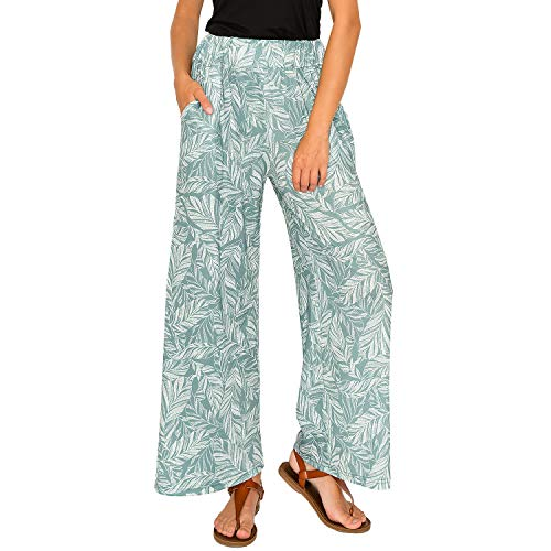 Summer Thin Wide Leg Pants Women Stylish Soft Loose Fit with Elastic Waist Side Pockets (Light Green, Small)