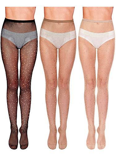 3 Pieces Rhinestone Fishnet Stockings Fishnet Tights Glitter Pantyhose High Waist Mesh Stockings for Women (Flesh-colored, Coffee, Black)
