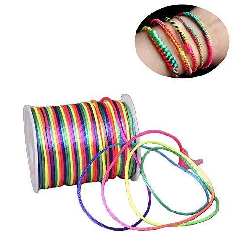 inherited Cuerda de color arcoiris(1,5mm;100m) Cuerda Color Arcoíris Neón, Diseño Degradado de Color- Cordón Manualidades con Bisutería, Abalorios, Pulseras para Niños, Bandas para el Pelo