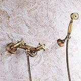 Yhtech Set de ducha de cobre completa baño caliente y fría de la ducha grifo de la ducha ducha Continental antiguo juego de ducha de suministro de agua (color: azul y blanco de la porcelana) Juego de