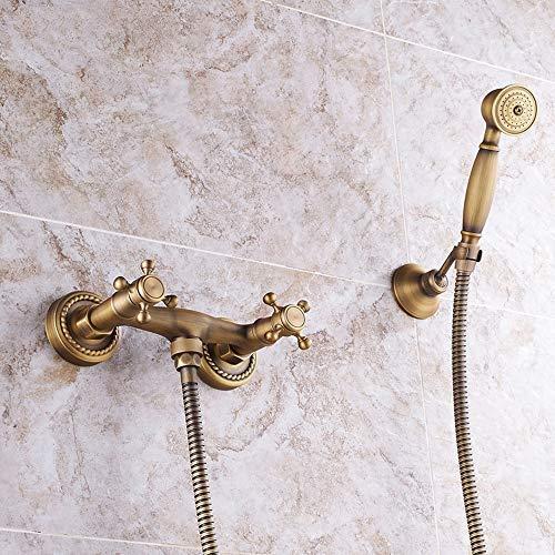 CLJ-LJ Ducha Ducha antiguo Conjunto de cobre completa baño caliente y frío grifo de la ducha ducha Continental Hermosa práctica (Color : Full Copper)