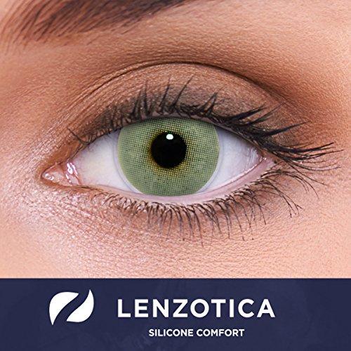 LENZOTICA Sehr stark natürlich deckende graue Kontaktlinsen, SILICONE COMFORT farbig SOLID GREY + Behälter von LENZOTICA I 1 Paar (2 Stück) I DIA 14.00 I ohne Stärke I 0.00 Dioptrien
