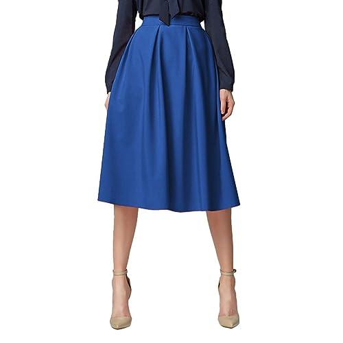 Urban GoCo Mujeres Vintage Falda Midi Plisada A-Line con Bolsillos Faldas  Larga 30b98d3e86ff