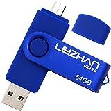 LEIZHAN Memoria USB 2.0 64GB,Pendrive OTG 2 in 1 USB Flash Stick para Samsung Huawei Android PC Tableta Mac-64GB(Azul)