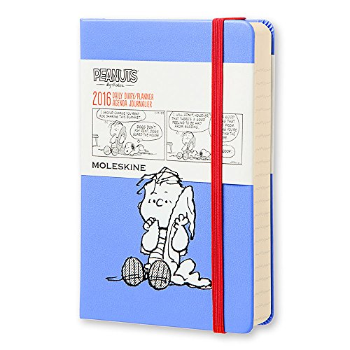 """Moleskine Limited Edition Peanuts 12 Month 2016 Daily Planner, Hard Cover, Pocket (3.5"""" x 5.5"""") Powder Blue"""