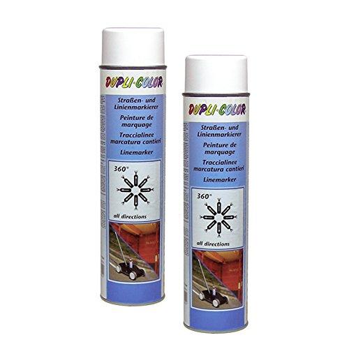 DUPLI_bundle 2X Dupli-Color Linien Straßenmarkierer dauerhaft Spray weiß 600ml 895173