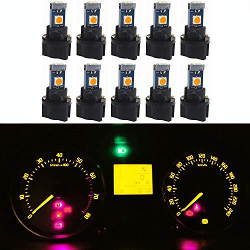 WLJH Lot de 10 Jaune/Ambre T5 Wedge Lampe de Tableau de Bord LED 73 74 3030 3-SMD Cluster Plug Lampe Dash Ampoule avec Twist Socket