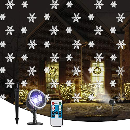 Vanthylit Christmas Snowflake Projector Light Remote Controlled Multi-Function Rotating for