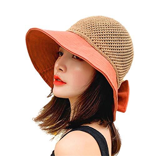 U/S Sombrero de playa plegable para mujer, sombrero de pescador tejido de malla ancha decorado con lazo