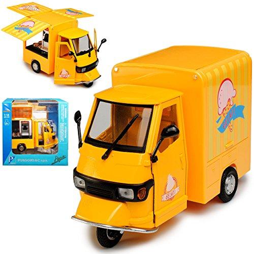 New Ray Vespa Piaggio Ape Gelb Eisdiele Gelati Marktstand Mobiler Eiswagen Transporter 1/18 Modell Auto
