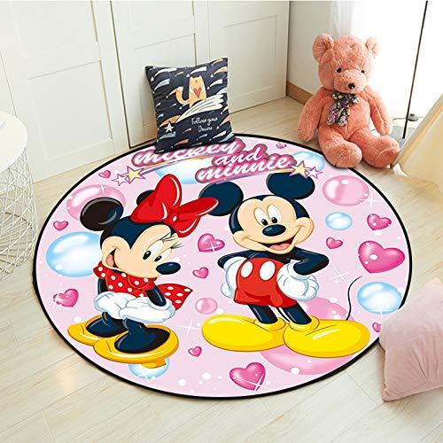 tianluo Alfombra Alfombra De Mickey Minnie Mouse para Niños, Bebés, Niños, Juego De Gateo, Alfombra Redonda para Sala De Estar, Alfombra Suave De Bienvenida Interior, Regalo