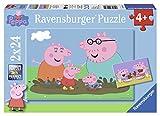 Ravensburger 09082 - Peppa Pig: Glückliches Familienleben, 2 x 24 Teile Puzzle -