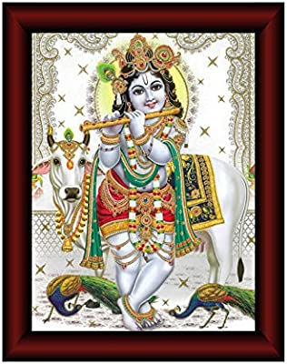 SAF Krishna Framed Acrylic Glass Painting 14 inch x 11 inch SANFR02
