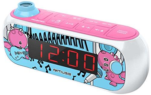 Muse M-167 KDG Kinder-Wecker mit digitalem UKW Radio und Sternen-Projektion (2 Weckzeiten, Display mit Dimmer, AUX-In) rosa / weiß mit lustigen Comic-Motiven
