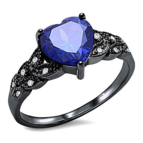 Accent Heart Promise Ring Simulated Blue Tanzanite Round Clear CZ Black Tone Plated 925 Sterling Silver