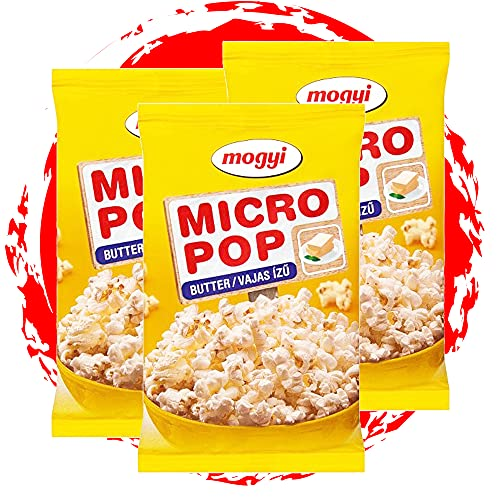 Mogyi Mikrowellen Popcorn Butter geschmack | Popcorn Mais fix und fertig - wie im Kino | Micro Popcorn einfach lecker - Naschen erwünscht | Party Pack 3x100g