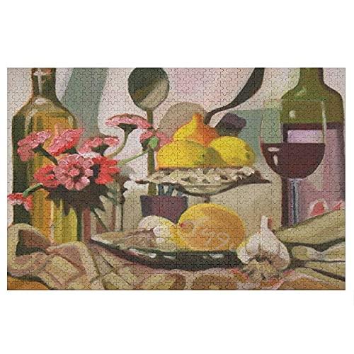 Pealrich Rompecabezas de madera de 1000 piezas, mesa de comedor de otoño con botella de vino grande juego de rompecabezas juguetes de Halloween, Acción de Gracias