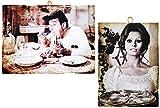 KUSTOM ART 2 cuadros de estilo vintage con los famosos actores – Sordi y Sofia Loren que sirve la pizza – Impresión sobre madera para decoración Restaurante Pizzeria Tracoria Bar Albergo Locanda