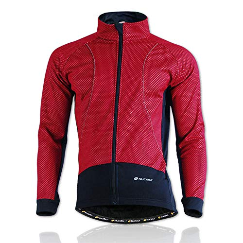 Hellay Herren Fahrradjacke Winter Radsportjacke Winddichte und Wasserfeste Thermo Atmungsaktive Fahrrad Windjacke-rot_XL