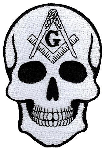 Masonic Skull Patch Head Iron On Embroidered Freemason Mason G Square Compass