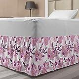 Lunarable Japanese Bedskirt, Cherry Blossom Pattern Vintage Arrangement of Sakura Flowers, Bedroom Decor Wrap Around Elastic Bed Skirt Gathered Design, Twin/Twin XL, Yellow Magenta