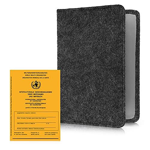 kwmobile Funda para cartilla de vacunación - Estuche protector de fieltro con tapa para pasaporte de vacunas europeo - gris oscuro