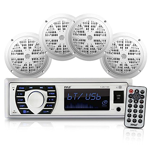 Marine Radio Receiver Speaker Set 12v Single Din Style Bluetooth Compatible Waterproof Digital Boat In Dash Console System with Mic 4 Speakers, Remote Control, Wiring Harness PLMRKT38W (White)